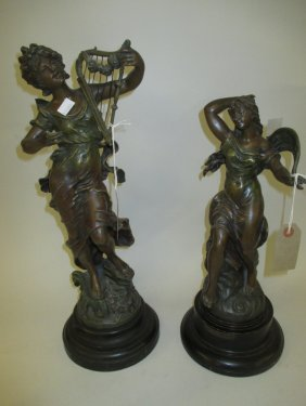 French Painted Spelter Figure Of A Classical Maiden