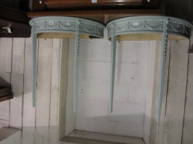Pair Of Painted Half Round Console Tables