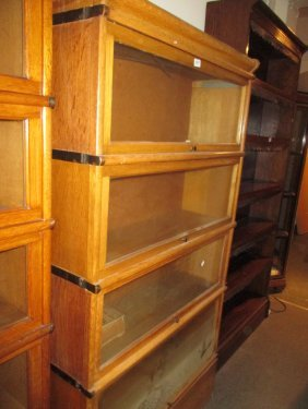 Four Section Oak Globe Wernicke Type Bookcase With Top