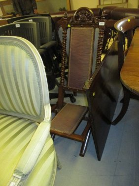Victorian Walnut Folding Nursing Chair With Turned And
