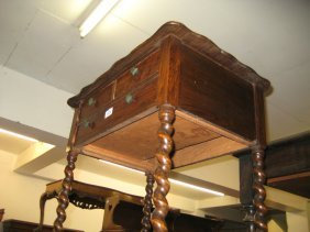 1930's Oak Three Drawer Table On Barley Twist Supports