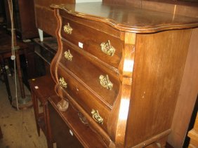 Small Continental Oak Bombe Commode Chest Of Three