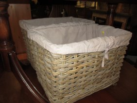 Pair Of Large Modern Woven Rectangular Baskets With