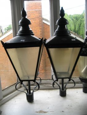 Pair Of Patinated Copper Street Lantern Heads By D.w.