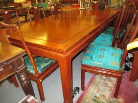 George Zee And Co. Chinese Hardwood Dining Table Having