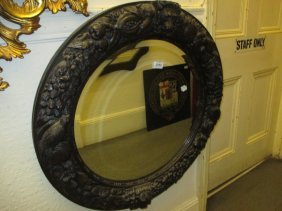 19th Century Circular Carved Oak Wall Mirror With