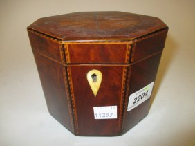 George Iii Mahogany And Chequer Line Inlaid Octagonal