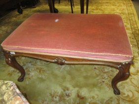 Large Victorian Rosewood Rectangular Stool With An