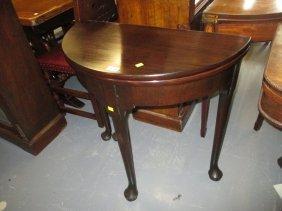 Small George Iii Mahogany Half Round Tea Table On