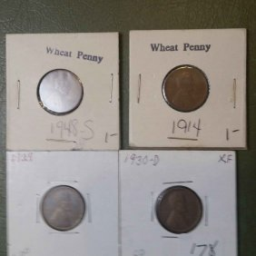 Lot Of 4 Wheat Cents