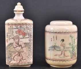 AN IVORY SCENT BOTTLE AND A POT & COVER With Etched