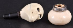 A SMALL IVORY POT & COVER And A HANDLE As A Birds H