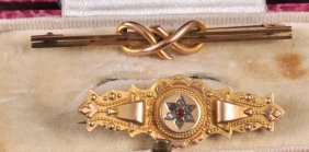 A 9ct Gold Rope Bar Brooch And A Victorian Bar Bro