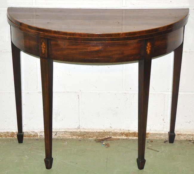 A georgian mahogany half moon card table with rising to for 1 2 moon table