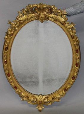 A Good French Giltwood Oval Mirror, Circa