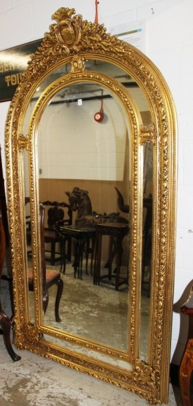 A Large Gilt Framed Upright Mirror.