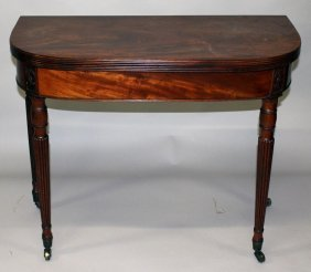 A Georgian Mahogany Card Table With Plain Rising Top,