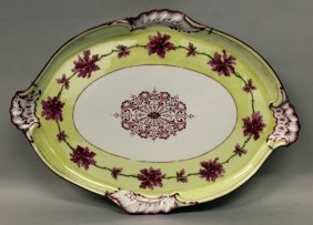 A Large Meissen Oval Tray With Pale Yellow Band Painted