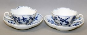 A Pair Of Meissen Shaped Blue And White Onion Pattern