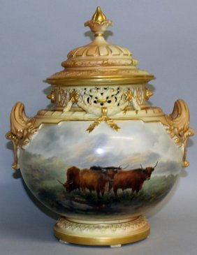 A Superb Large Royal Worcester Two Handled Circular