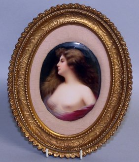 A Superb Continental Oval Porcelain Plaque, Head And
