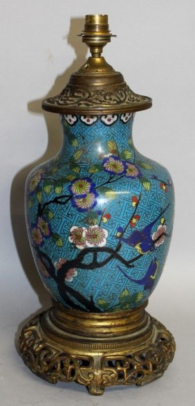 A Japanese Cloisonne Enamel Vase And Stand Converted To