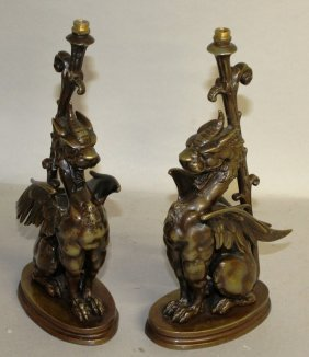 A Superb Pair Of Early 19th Century Bronze Griffon