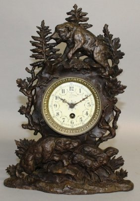 """A 19th Century French """"black Forest Design"""" Iron Mantle"""