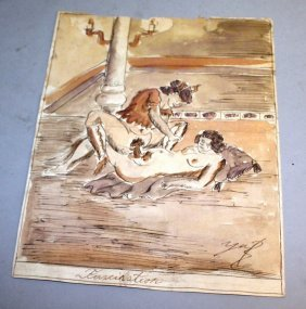 Eight 19th Century French Erotic Watercolour. Unframed.