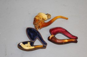 Three Various Meerschaum Pipes, Two In Leather Cases.