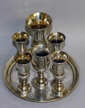 An Early Jewish Silver Circular Dish And Six Goblets.