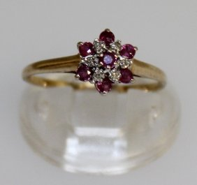 A Small Gold Set Ruby And Diamond Ring.