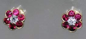 A Pair Of Ruby And Diamond 18ct Gold Cluster Earrings.