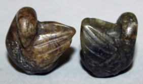 A Pair Of Miniature Jade-like Models Of Water Fowl,