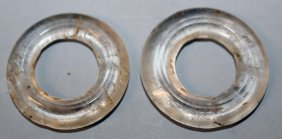 A Pair Of Chinese Rock Crystal Type Circular Discs, Of