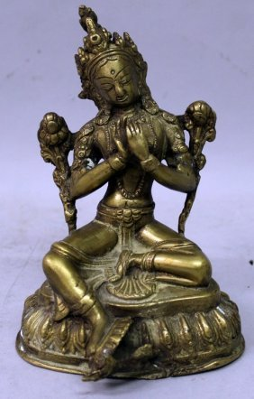 A North Indian Or Nepalese Bronze Figure Of Tara,