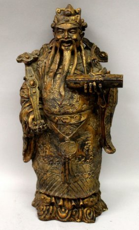 A Chinese Lacquered & Gilt Wood Figure Of An Emperor,