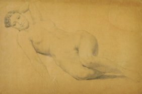 20th Century English School. A Reclining Nude, Pencil,
