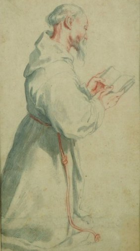 Early 17th Century Spanish School. Study Of A Monk At