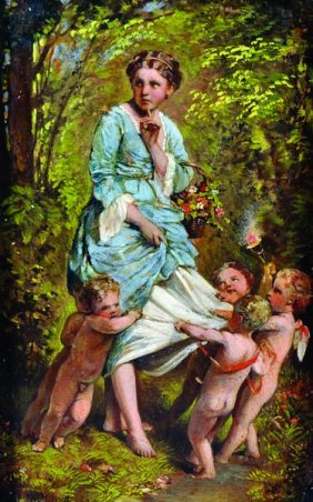 19th Century French School. A Flower Girl With Cherubs,