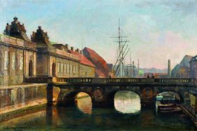 Axel Johansen (1872-1938) Danish. A Canal Scene,