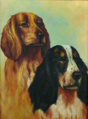 20th Century English School. Two Spaniels, Waiting For