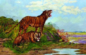 19th Century Continental School. Tigers By A River