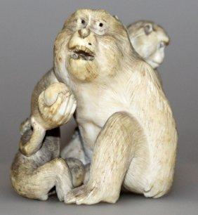 A Good Japanese Meiji Period Ivory Okimono Of A Group