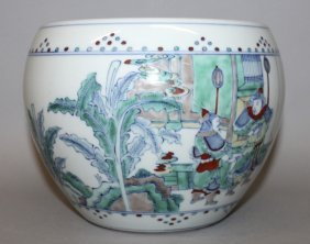 A Chinese Doucai Porcelain Jardiniere, Decorated With