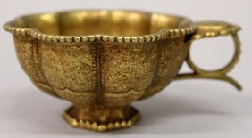 A Chinese Tang Style Gilt Metal Cup, The Lobed Sides