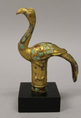A Chinese Inlaid Gilt Bronze Cane Handle, Of Archaic