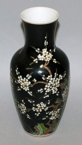 A Chinese Famille Noire Porcelain Vase, Decorated With