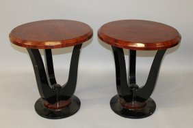 30. A Pair Of Art Deco Design Rosewood And Ebonised