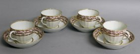 91. Four Pinxton Style Teacups And Saucers.